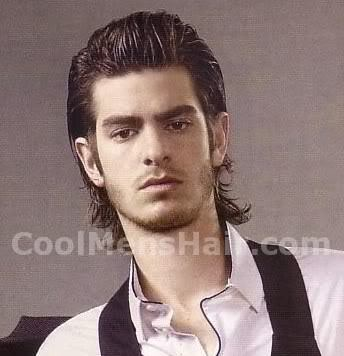 Picture of Andrew Garfield pompadour hairstyle for guys.