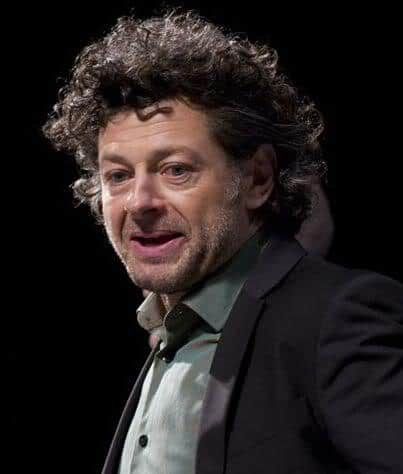 Photo of Andy Serkis with his curly hair at the 2011 Comic Con.