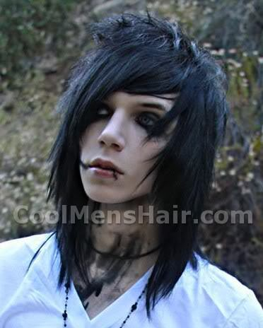 Photo of Andy Six long emo hairstyle.
