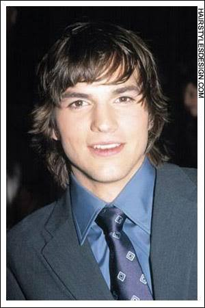 Picture of Ashton Kutcher's longer locks.
