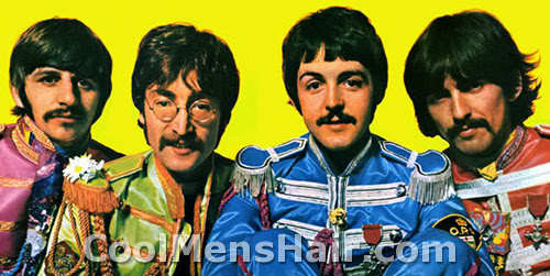 The Beatles haircuts with mustaches.