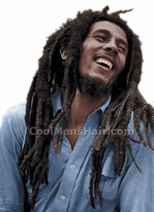 Bob Marley dreadlocks hairstyle.