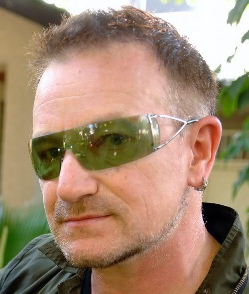 Image of Bono short hairstyle.