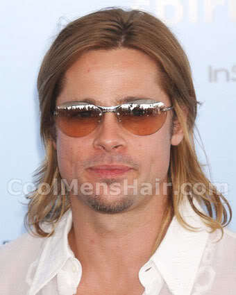 Image of Brad Pitt long hair.