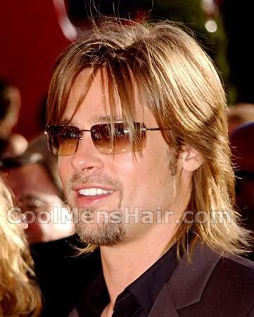Pic of Brad Pitt mullet hair for guys.
