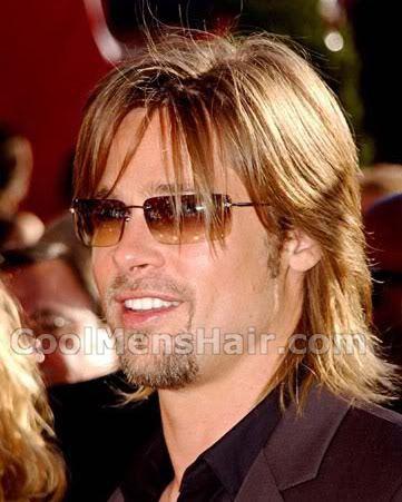 Pic of Brad Pitt mullet hair for guys.