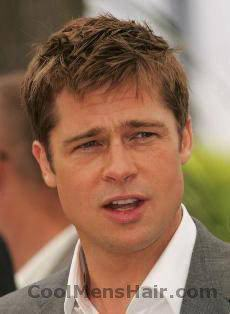 Picture of Brad Pitt short layered hair.