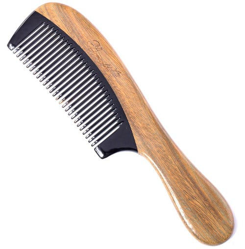 Breezelike-No-Static-Black-Buffalo-Horn-Comb-with-Sandalwood-Handle