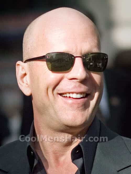 Photo of Bruce Willis shaved head.