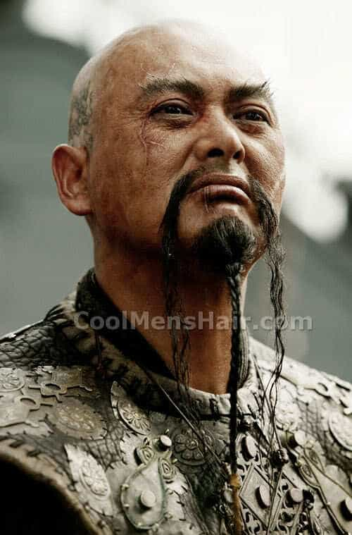 Picture of Chow Yun Fat as Captain Sao Feng Fu with Manchu mustache in Pirates of the Caribbean movie.