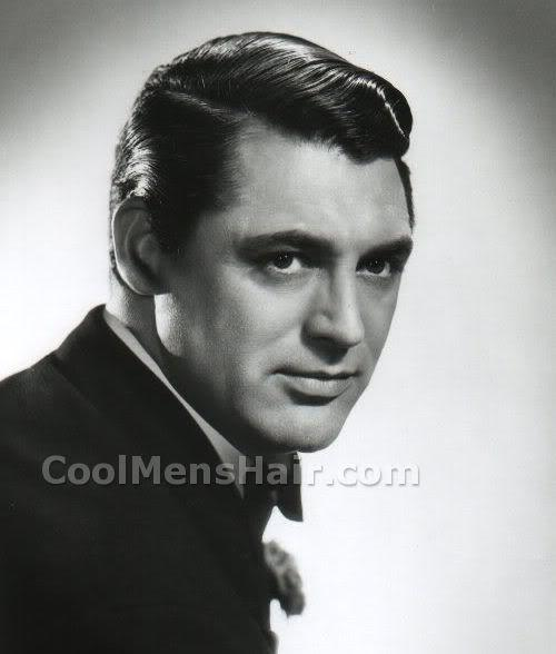 Photo of Cary Grant classic side swept hairstyle.