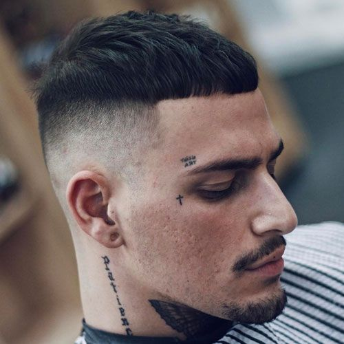 crew cut with center part