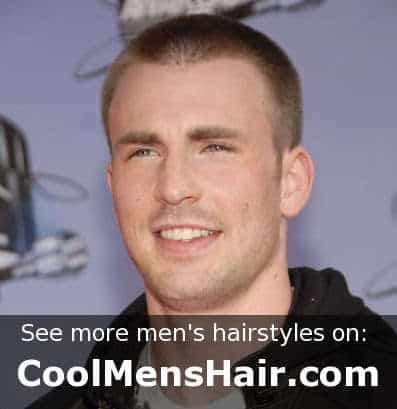 Cool buzz cut style from Chris Evans.
