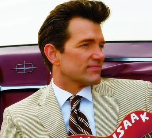Picture of Chris Isaak quiff hair.