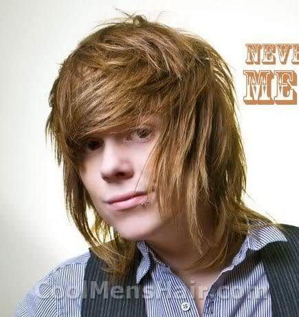 Picture of Christopher Drew bangs hairstyle.