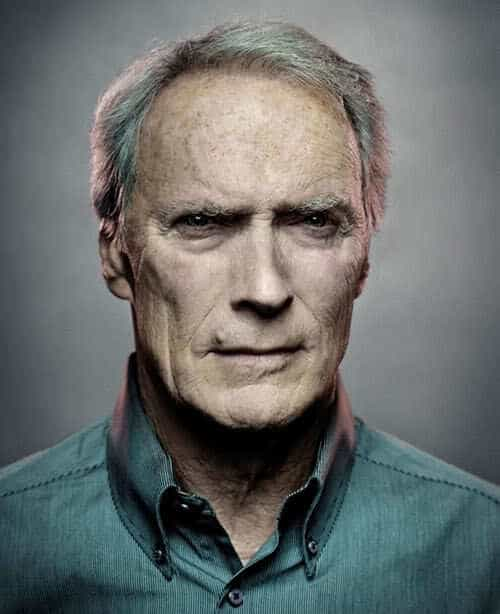 Photo of Clint Eastwood hairstyle for men with gray hair.