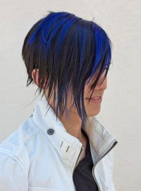Cole Plante with blue streaked hair