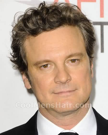 Photo of Colin Firth hairstyle: messy swept back hairstyle.