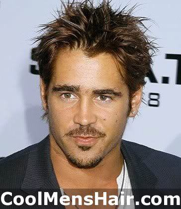 Photo of Colin Farrell messy hairstyle.