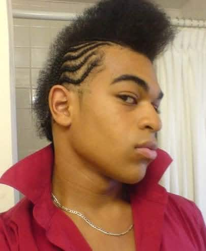 Photo of cornrowed afro mohawk.