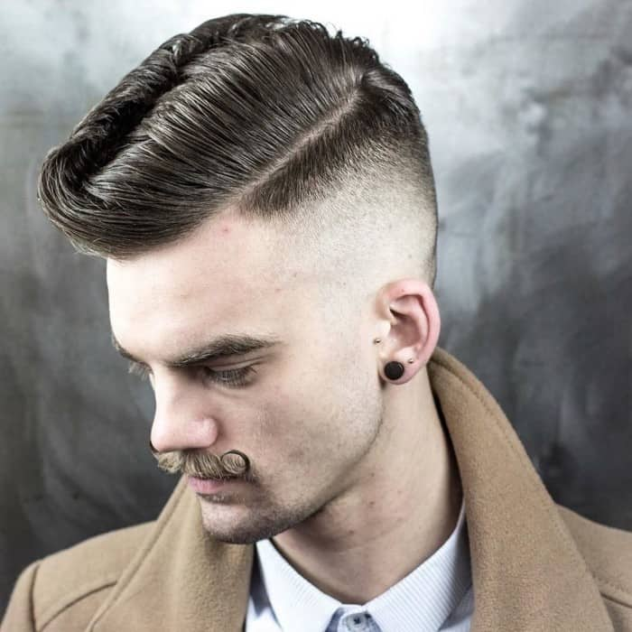 High & Centered Pompadour undercut for men