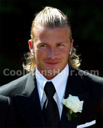 Picture of David Beckham long hairstyle for men.