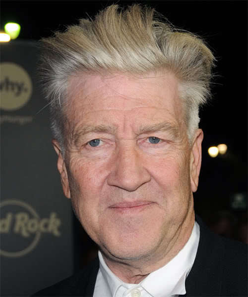 Photo of David Lynch gray pompadour hairstyle.