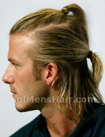 Image of David Beckham ponytail hairstyle.