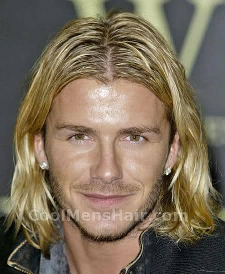 David Beckham shoulder length hair photo.