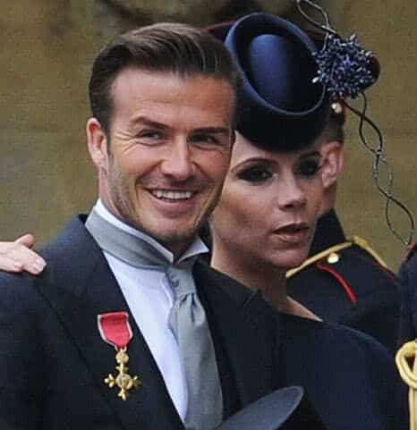 David Beckham slicked back hairstyle.