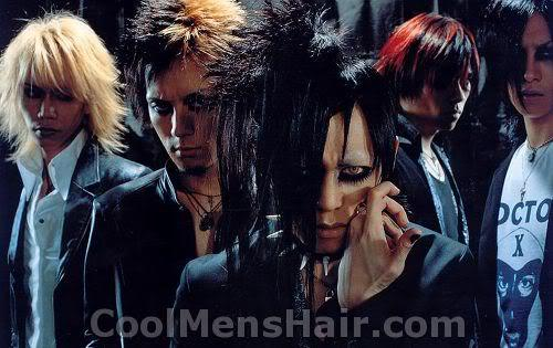 Photo of Dir En Grey (Japanese visual kei band) hairstyle.