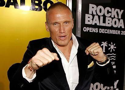 Picture of Dolph Lundgren shaved head.