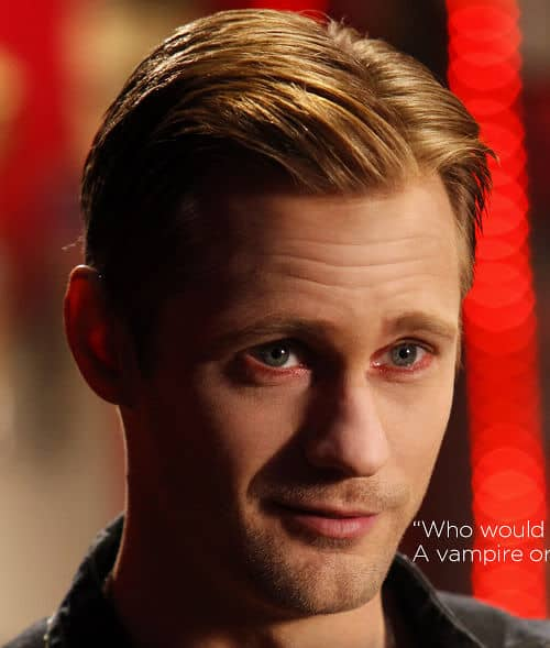Photo of Eric Northman short side parted hairstyle.