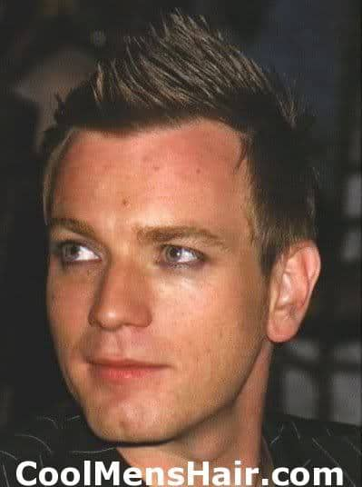 Photo of Ewan McGregor faux mohawk haircut.