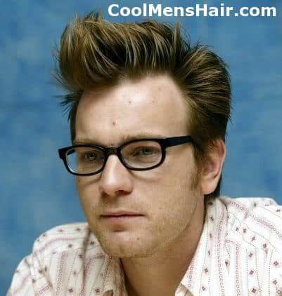 Picture of Ewan McGregor pompadour hairstyle.