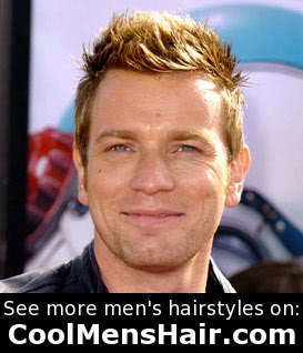 Photo of Ewan McGregor textured spiky haircut.
