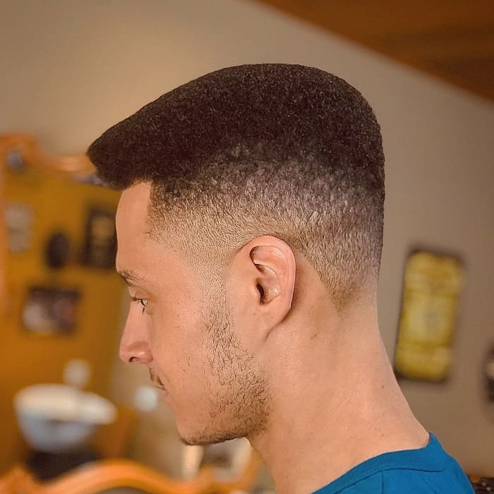 Curly Flat Top with Low Fade