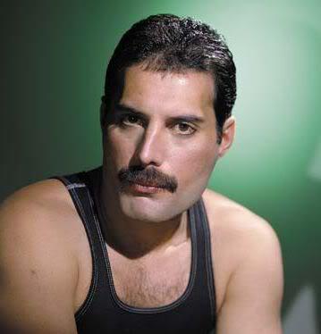 Photo of Freddie Mercury with chevron mustache.