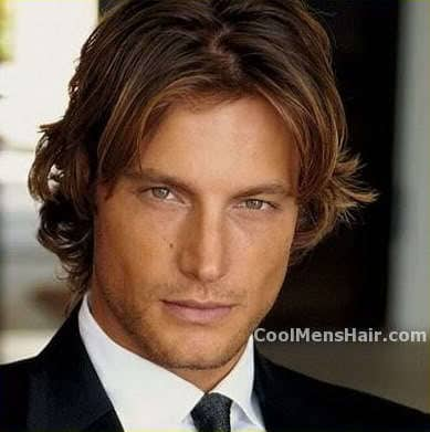 Image of Gabriel Aubry formal wavy hairstyle.