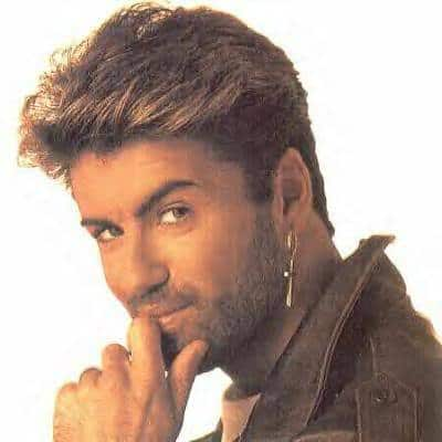 Picture of George Michael short sides hair.