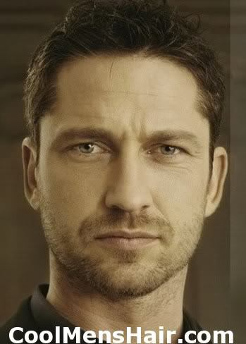Photo of Gerard Butler short hairstyle.