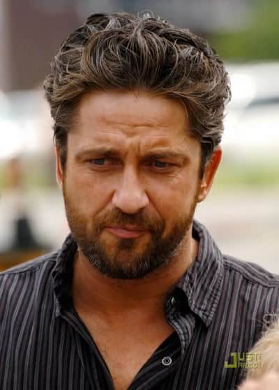 Image of Gerard Butler slick back hair.