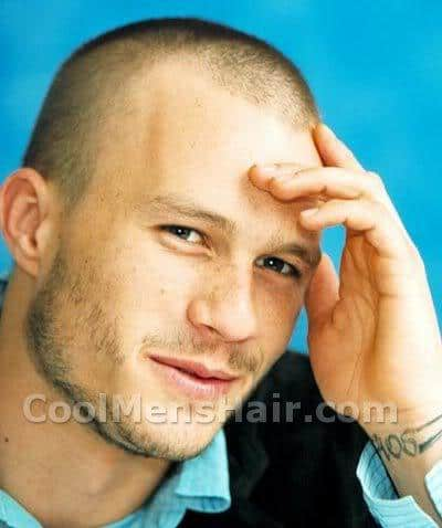 Heath Ledger buzz cut hairstyle.