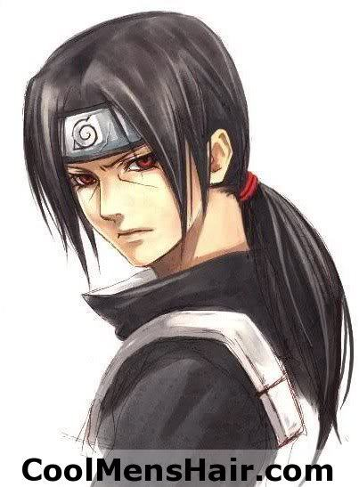 Itachi long black anime hairstyle.