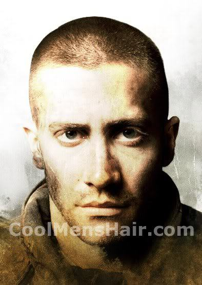 Image of Jake Gyllenhaal military buzz cut.