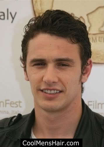 Photo of James Franco slick back hairstyle for guys.