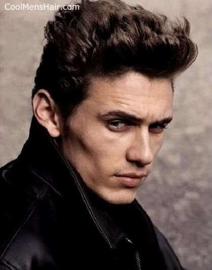 Picture of James Franco curly pompadour hairstyle.