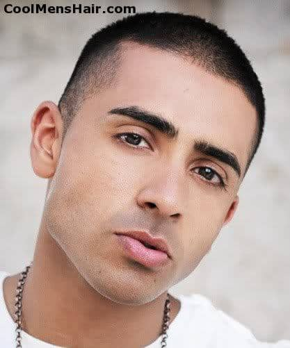 Photo of Jay Sean buzz cut hairstyle for men.