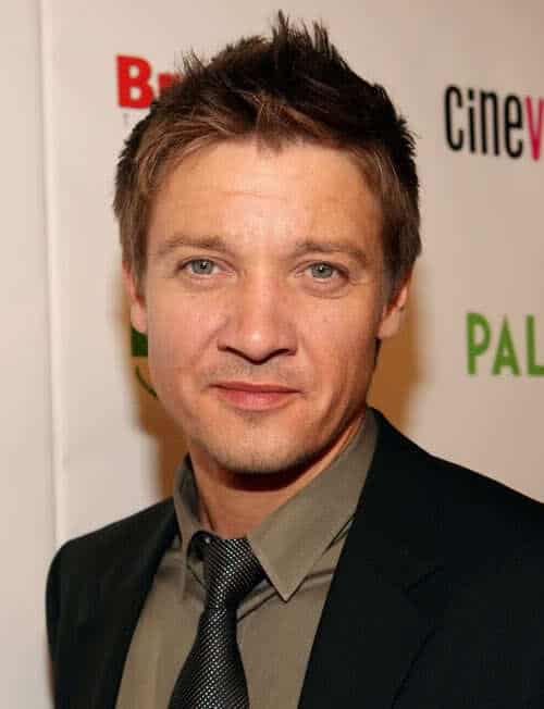 Image of Jeremy Renner spiky hairstyle.