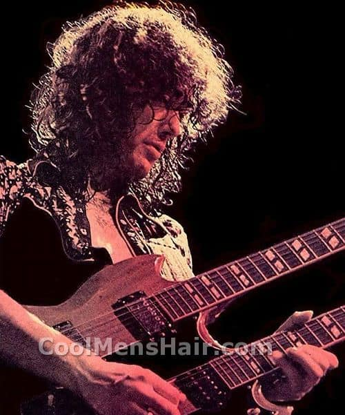 Photo of Jimmy Page uncontrolled hairstyle.